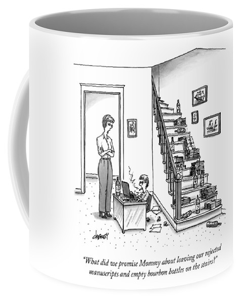 Writer Coffee Mug featuring the drawing A Mother Speaks To Her Son by Tom Cheney