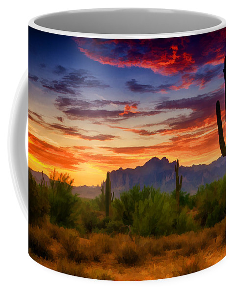 Sunrise Coffee Mug featuring the photograph A Painted Desert by Saija Lehtonen