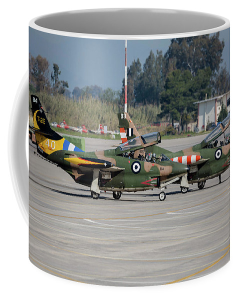 Greece Coffee Mug featuring the photograph A Pair Of Hellenic Air Force T-2 by Timm Ziegenthaler