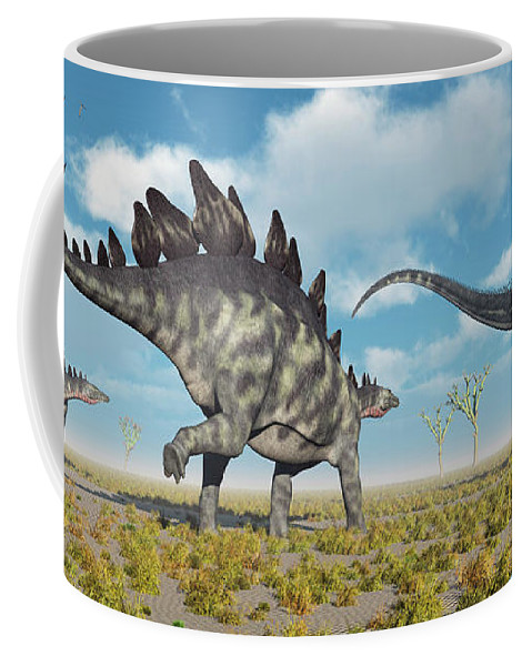 Horizontal Coffee Mug featuring the photograph A Pair Of Stegosaurus Dinosaurs by Mark Stevenson