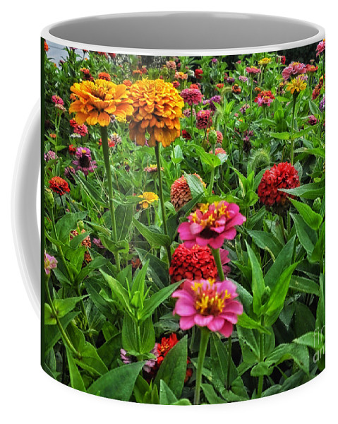 Floral Coffee Mug featuring the photograph A Pair Of Yellow Zinnias 02 by Thomas Woolworth