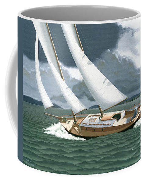 Gulf Islands Coffee Mug featuring the painting A Passing Squall by Gary Giacomelli