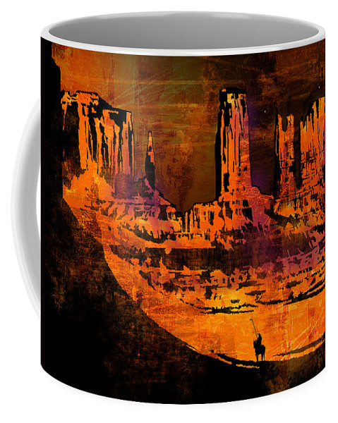 Native American Coffee Mug featuring the painting A Pause In Monument Park by Paul Sachtleben