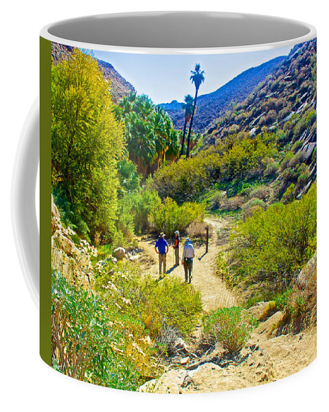 A Pause On Lower Palm Canyon Trail In Indian Canyons Near Palm Springs Coffee Mug featuring the photograph A Pause On Lower Palm Canyon Trail In Indian Canyons Near Palm Springs-california by Ruth Hager