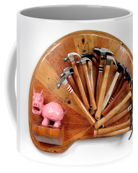 Czappa Coffee Mug featuring the relief A Pigs Interest  #64 by Bill Czappa