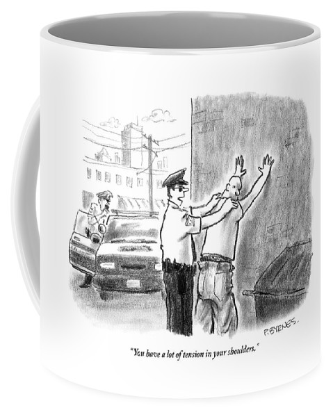 Massage Coffee Mug featuring the drawing A Policeman Talks To A Man He Is Frisking Or by Pat Byrnes