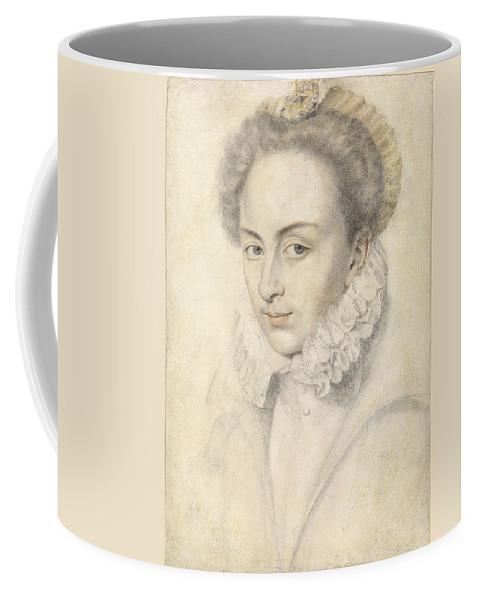 Daniel Dumonstier Coffee Mug featuring the drawing A Portrait Of A Young Woman In A Ruffled Collar by Daniel Dumonstier