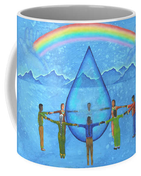 Native American Coffee Mug featuring the painting A Prayer For Water by Kevin Chasing Wolf Hutchins