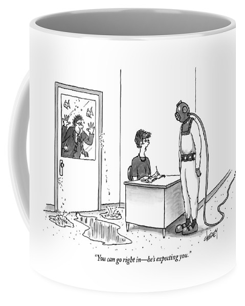 Diving Suits Coffee Mug featuring the drawing A Receptionist Addresses A Man In Diving Gear by Tom Cheney
