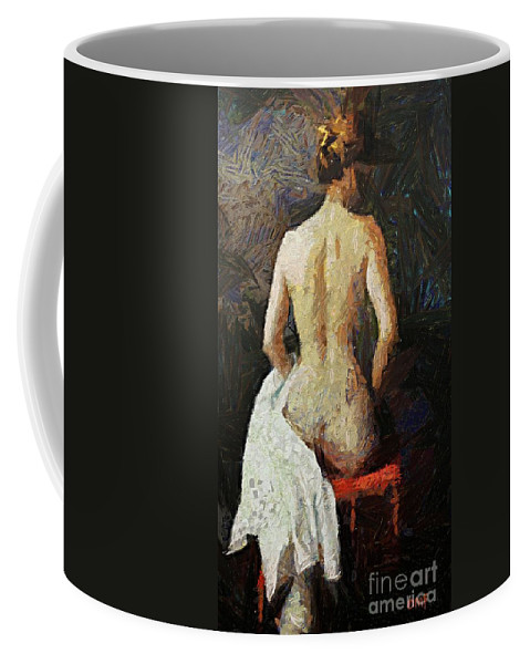 Nude Coffee Mug featuring the painting A Red Chair by Dragica Micki Fortuna