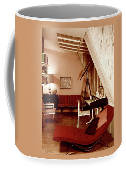 Indoors Coffee Mug featuring the photograph A Red Living Room by Haanel Cassidy