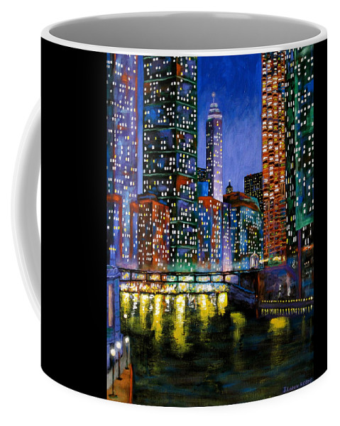 Chicago River Coffee Mug featuring the painting A River Runs Through It by J Loren Reedy
