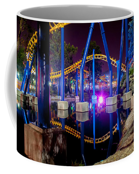 People Coffee Mug featuring the photograph A Rollercoaster At A Theme Park In Usa by Alex Grichenko