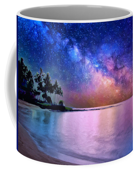 Milky Way Coffee Mug featuring the painting A Sea Of Stars At Poipu by Dominic Piperata