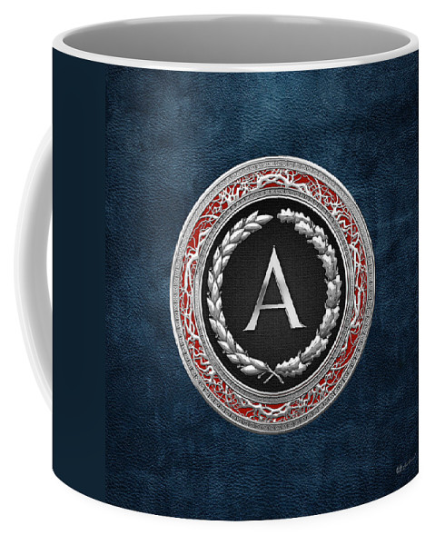 C7 Vintage Monograms 3d Coffee Mug featuring the digital art A - Silver Vintage Monogram On Blue Leather by Serge Averbukh
