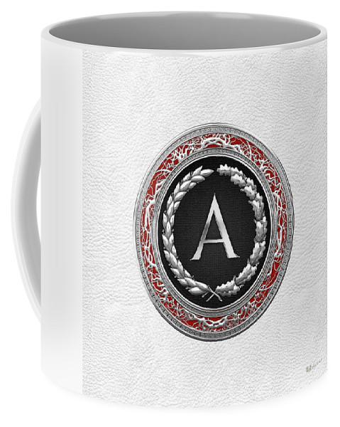 C7 Vintage Monograms 3d Coffee Mug featuring the digital art A - Silver Vintage Monogram On White Leather by Serge Averbukh