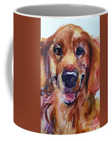Dog Painting Coffee Mug featuring the painting A Simple Smile by Maria's Watercolor