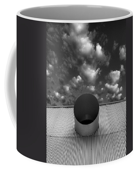 Palm Springs Coffee Mug featuring the photograph A Single Window Bw North Shore Yacht Club Salton Sea by William Dey