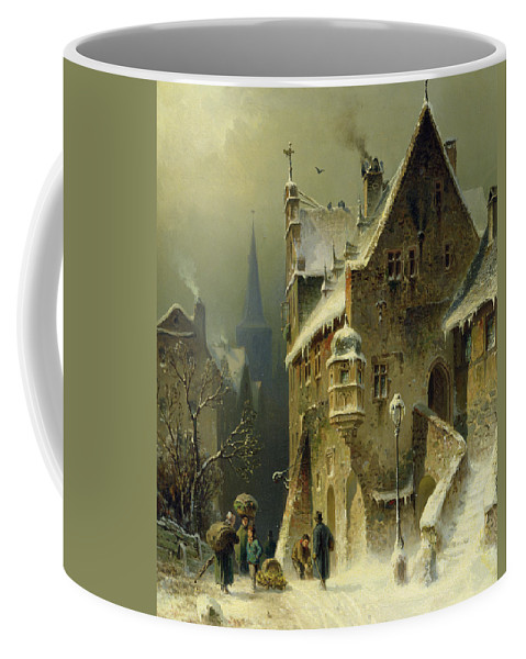 Schlieker Coffee Mug featuring the painting A Small Town In The Rhine by August Schlieker