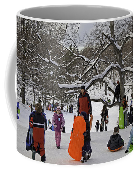 Snow Coffee Mug featuring the photograph A Snow Day In The Park by Madeline Ellis