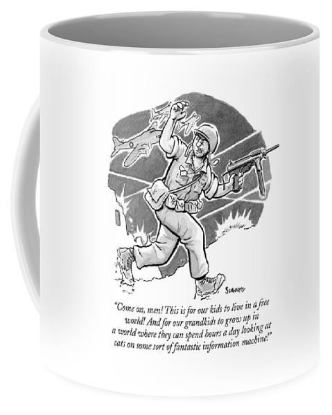 A Soldier Holding Gun Runs Through Battle Coffee Mug For Sale By