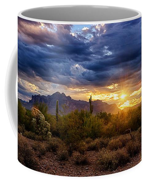 Sunrise Coffee Mug featuring the photograph A Sonoran Desert Sunrise by Saija Lehtonen