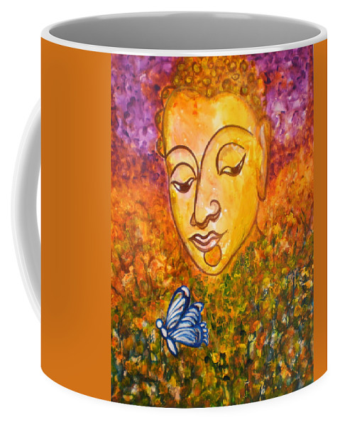 Abstract Print Art Painting Buddha Butterfly Purple Inspirational Traditional Yellow Red Orange Coffee Mug featuring the photograph A Soulful Journey by Manjiri Kanvinde