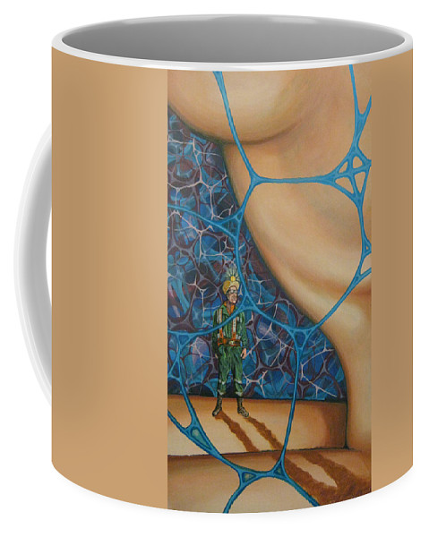 Spelunker Coffee Mug featuring the painting A Spelunkers Search For Life by Jeff Seaberg