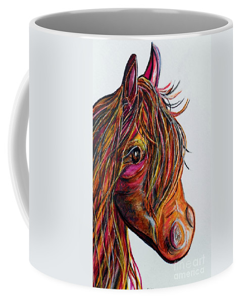Horse Coffee Mug featuring the painting A Stick Horse Named Amber by Eloise Schneider