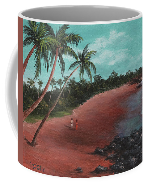 Tropical Island Coffee Mug featuring the painting A Stroll On A Tropical Beach by Darice Machel McGuire