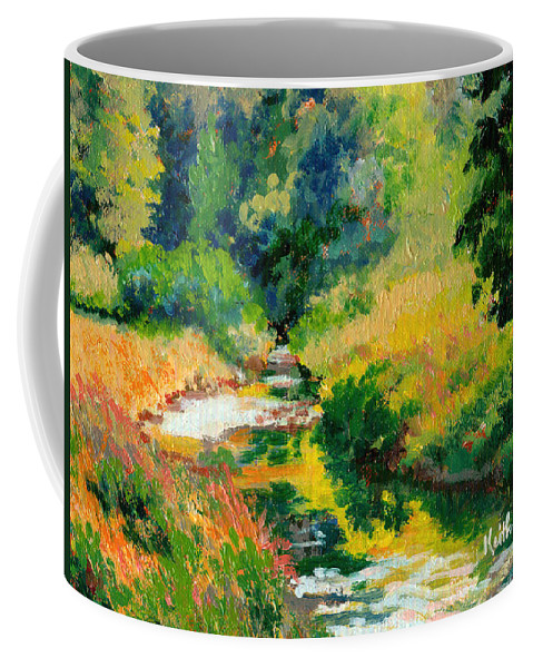 Impressionism Coffee Mug featuring the painting A Summer Brook by Keith Burgess