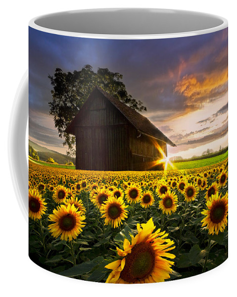 American Coffee Mug featuring the photograph A Sunflower Moment by Debra and Dave Vanderlaan