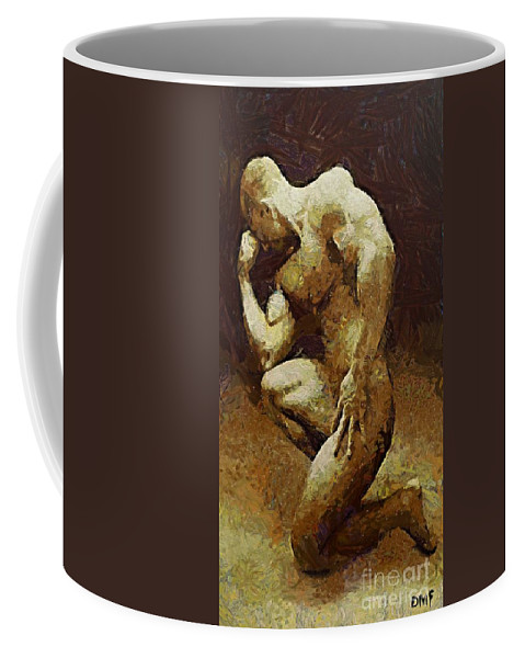 Male Body Builder Coffee Mug featuring the painting A Thinker by Dragica Micki Fortuna