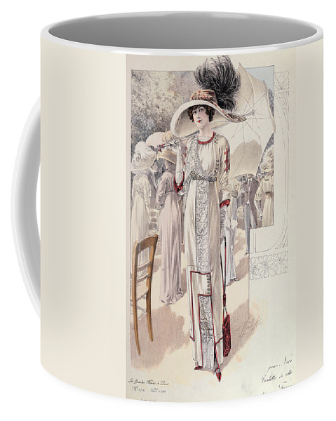 Female Coffee Mug featuring the painting A Town Dress by French School