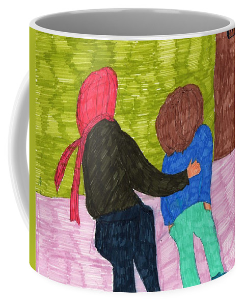 Mother Child Principals Office Coffee Mug featuring the mixed media A Trip To The Office by Elinor Helen Rakowski