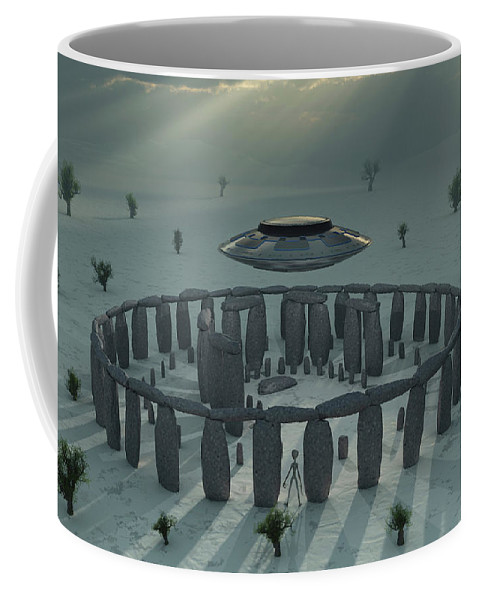 Horizontal Coffee Mug featuring the photograph A Ufo & Its Alien Crew Visiting by Mark Stevenson
