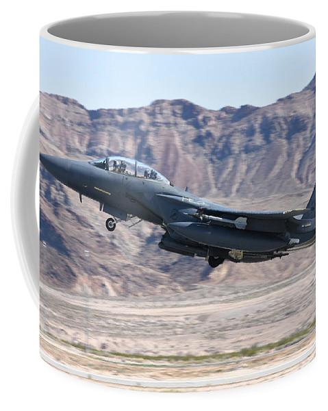 Nellis Air Force Base Coffee Mug featuring the photograph A U.s. Air Force F-15e Strike Eagle by Riccardo Niccoli
