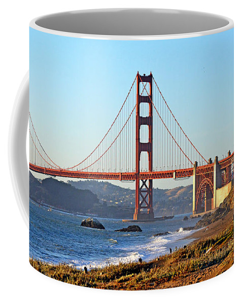 Golden Gate Bridge Coffee Mug featuring the photograph A View Of The Golden Gate Bridge From Baker's Beach by Jim Fitzpatrick