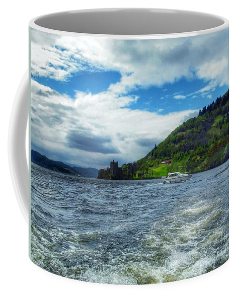 Loch Ness Coffee Mug featuring the photograph A View Of Urquhart Castle From Loch Ness by Joan-Violet Stretch