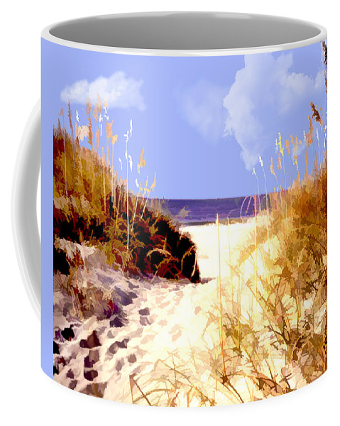 Ocean Coffee Mug featuring the painting A View Through The Dunes To The Ocean by Elaine Plesser