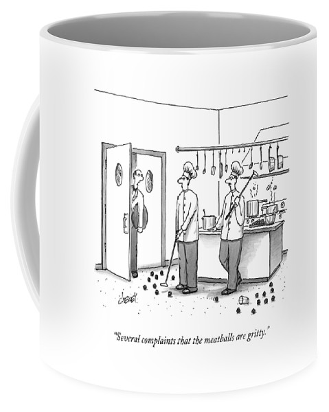 Chefs Coffee Mug featuring the drawing A Waiter Speaks To Two Chefs In A Kitchen Who by Tom Cheney
