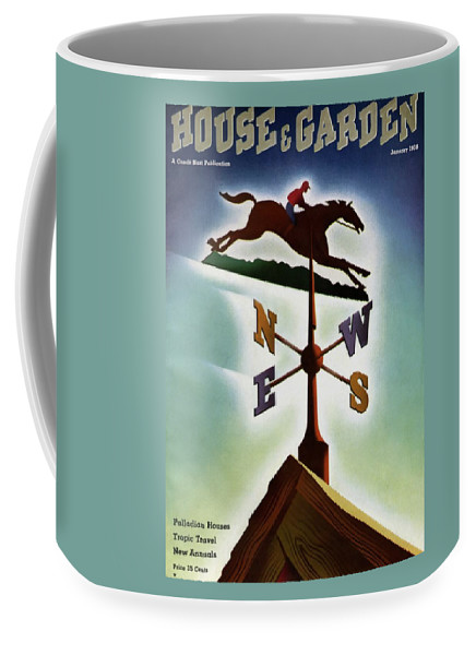 House And Garden Coffee Mug featuring the photograph A Weathervane With A Racehorse by Joseph Binder