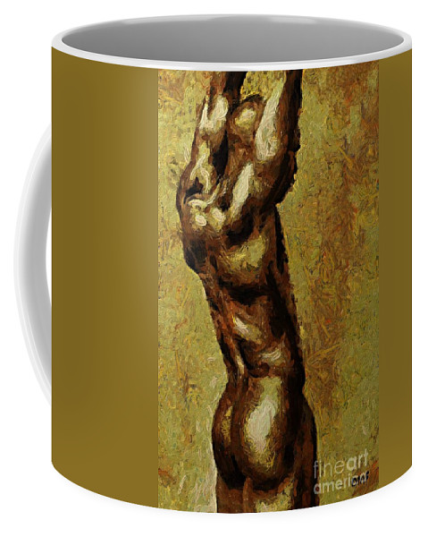 Male Body Builder Coffee Mug featuring the painting A Well Built Fellow by Dragica Micki Fortuna