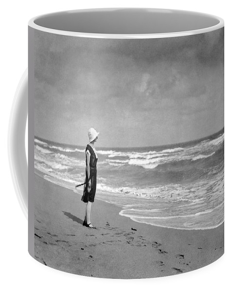 1925 Coffee Mug featuring the photograph A Winter Day At Miami Beach by Underwood Archives