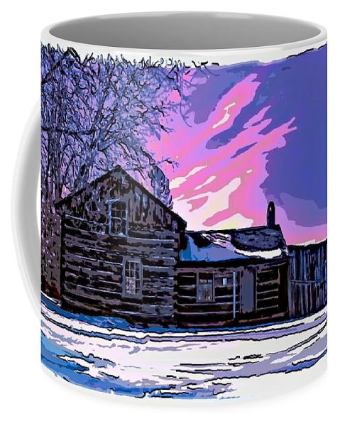 Log Cabin Coffee Mug featuring the photograph A Winter Dream 2 by Steve Harrington