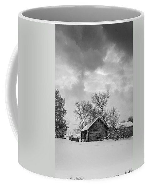 Winter Coffee Mug featuring the photograph A Winter Eve Monochrome by Steve Harrington
