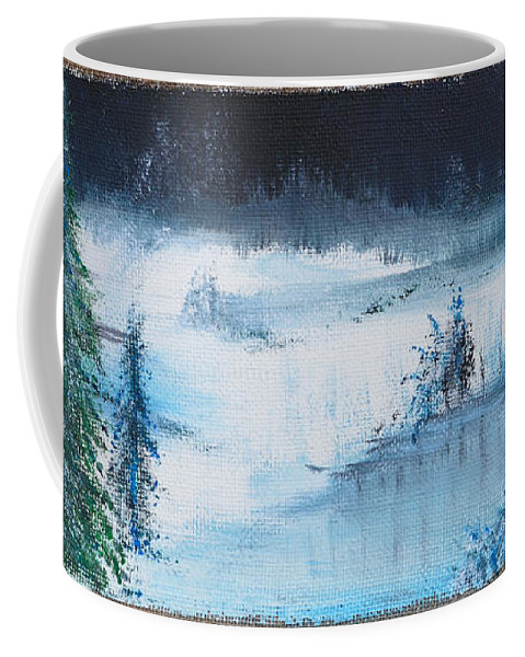 Burlap Coffee Mug featuring the painting A Winter Scene by Alys Caviness-Gober