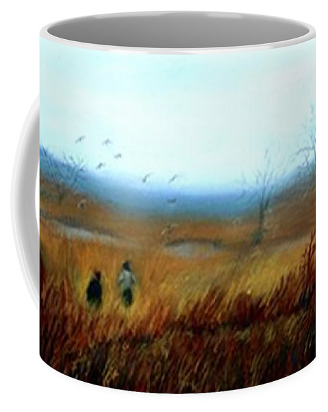 Figures Coffee Mug featuring the painting A Winter Walk by Gail Kirtz