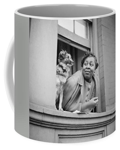 1943 Coffee Mug featuring the photograph A Woman And Her Dog by Gordon Parks