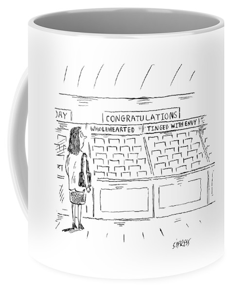 Congratulations Coffee Mug featuring the drawing A Woman In A Greeting Card Aisle Looks At Two by David Sipress
